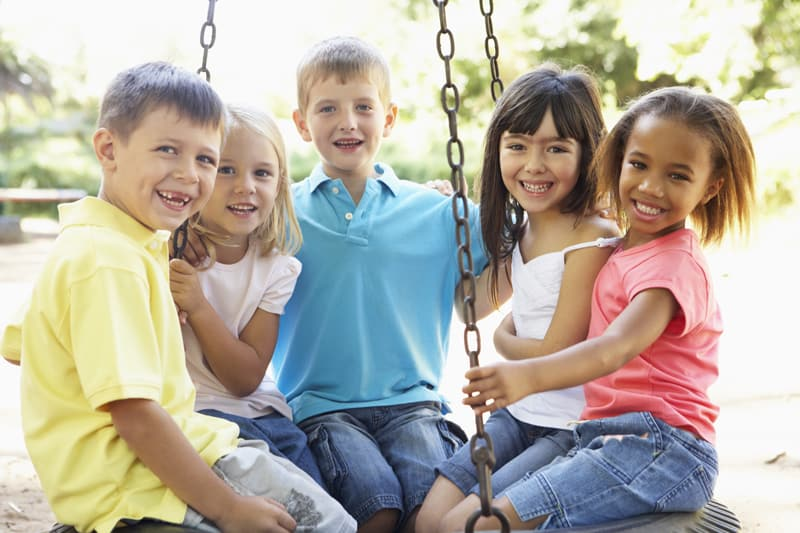 Children on swingset